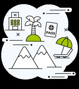 icone assurances voyage : avec un hopital, un palmier un passport, des montages,