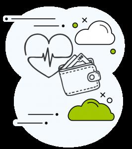Icone avec un coeur, un portefeuille et des nuages