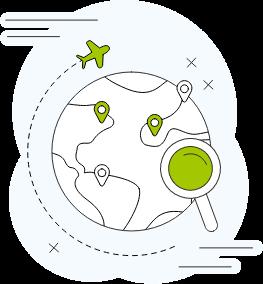 icone avec un avion qui fait le tour du monde