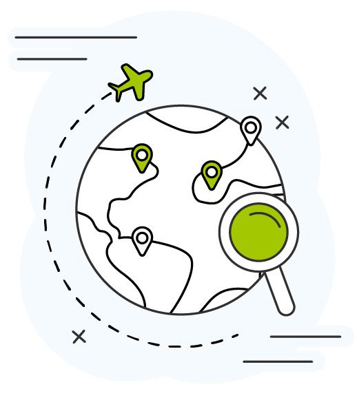 Icone tour du monde : avec une mapmonde une loupe