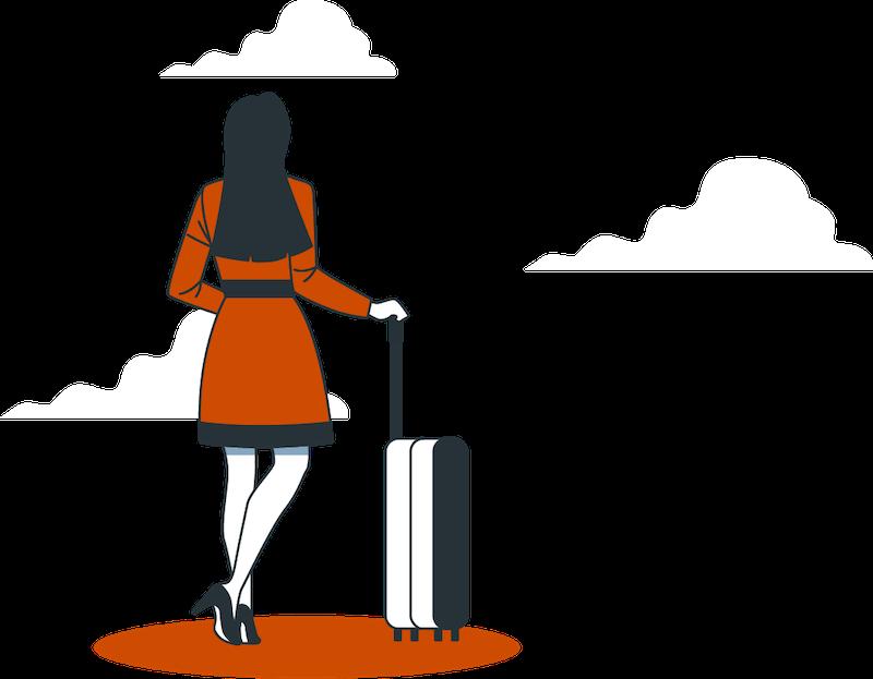 illustration d'une femme partant en voyage avec une valise