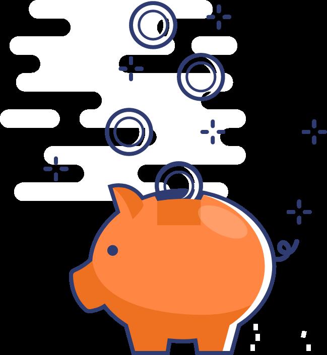 Tire-lire orange en forme de cochon